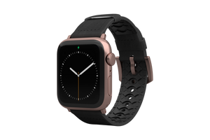 Vulcan Obsidian Black Leather Apple Watch Band Black/Rosegold - Groove Life