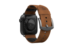 Vulcan Trek Leather Apple Watch Band Tan/Black - Groove Life