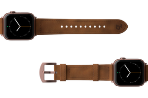 Vulcan Trek Leather Apple Watch Band Tan/Rosegold - Groove Life