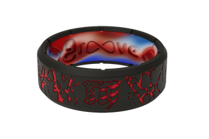 Mayhem Fracture Red - Groove Life Silicone Wedding Rings