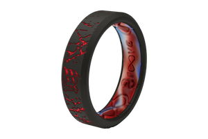 Thin Mayhem Fracture Red - Groove Life Silicone Wedding Rings
