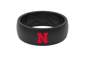 Original College Nebraska Black Color Fill - Groove Life Silicone Wedding Rings