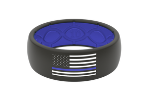 Groove Protector Silicone Ring - Police Blue / White Flag