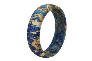 Blue Swirl - Thin - Groove Life Silicone Wedding Rings