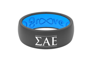 Original Custom Greek Sigma Alpha Epsilon - Groove Life Silicone Wedding Rings