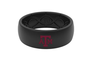 Original College Texas A&M Black Color Fill - Groove Life Silicone Wedding Rings