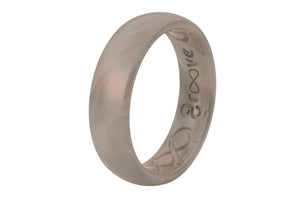 Thin Metallic Pewter - Groove Life Silicone Wedding Rings