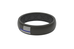 Thin Protector Police Blue/White Flag - Groove Life Silicone Wedding Rings