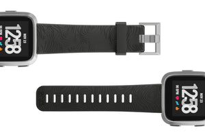 Fitbit Watch Band Versa Dimension Topo Black - Groove Life Silicone Wedding Rings