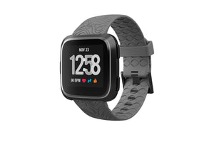 Fitbit Watch Band Versa Dimension Topo Deep Stone Gray - Groove Life Silicone Wedding Rings