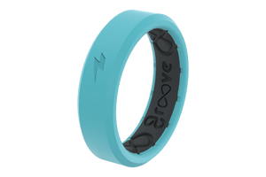 Thin Zeus Aqua/Black - Groove Life Silicone Wedding Rings