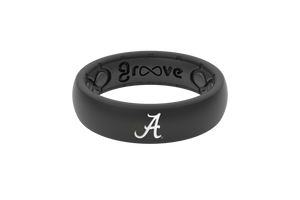 Thin College Alabama Black Logo - Groove Life Silicone Wedding Rings