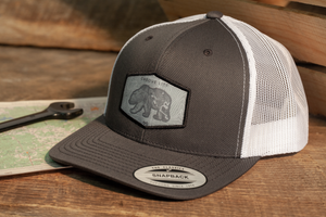 Alaska Grizzly White Mesh Trucker Hat Adventure Apparel