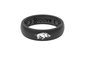 Thin College Arkansas Black - Groove Life Silicone Wedding Rings