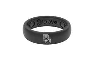 Baylor Thin Black Silicone Rings