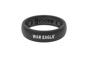 Thin College Auburn Black War Eagle - Groove Life Silicone Wedding Rings
