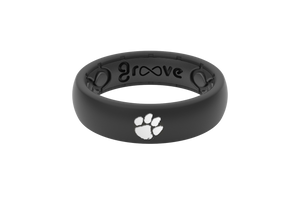 Thin College Clemson Black - Groove Life Silicone Wedding Rings