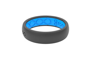 Deep Stone Grey Groove Silicone Rings