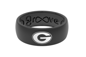 Original College Georgia Black Logo - Groove Life Silicone Wedding Rings