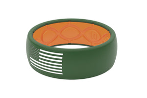 Original America Moss Green/White Flag - Groove Life Silicone Wedding Rings