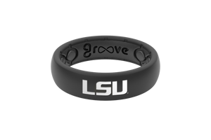 Thin College LSU Black Full - Groove Life Silicone Wedding Rings