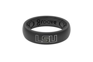 Thin College LSU Black Outline - Groove Life Silicone Wedding Rings