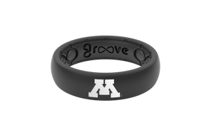 Thin College Minnesota Black Full - Groove Life Silicone Wedding Rings