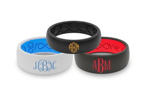 Monogram Text - Groove Life Silicone Wedding Rings