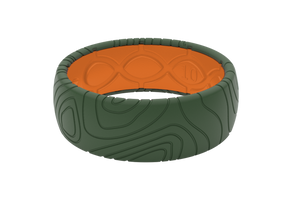 Original Dimension Topo Moss Green/Orange - Groove Life Silicone Wedding Rings