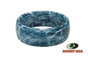Original Camo Mossy Oak Elements Agua Spindrift Pattern - Groove Life Silicone Wedding Rings