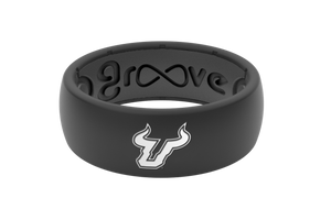 Original College South Florida Black Logo - Groove Life Silicone Wedding Rings