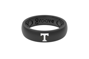 Thin College Tennessee Black - Groove Life Silicone Wedding Rings