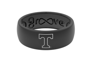 Original College Tennessee Black Outline - Groove Life Silicone Wedding Rings
