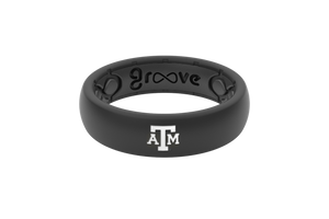 Thin College Texas A&M Black - Groove Life Silicone Wedding Rings