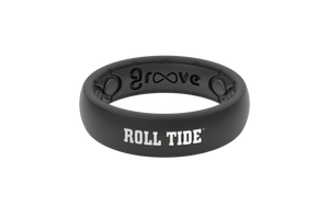 Thin College Alabama Black/Roll Tide - Groove Life Silicone Wedding Rings