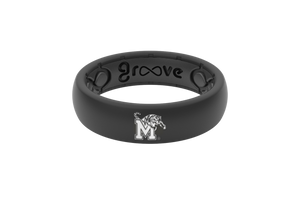 Thin Black Memphis Collegiate Silicone Wedding Rings