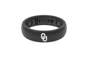 Thin College Oklahoma Black - Groove Life Silicone Wedding Rings