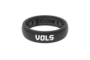 Thin College Tennessee Black Vols - Groove Life Silicone Wedding Rings