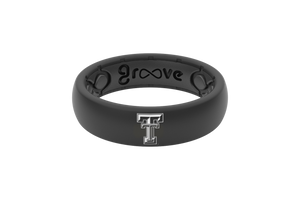 Thin Black Texas Tech Collegiate Silicone Rings