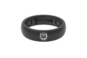 Thin College Georgia Black Mascot - Groove Life Silicone Wedding Rings