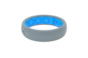 Thin Storm Grey Silicone Wedding Rings