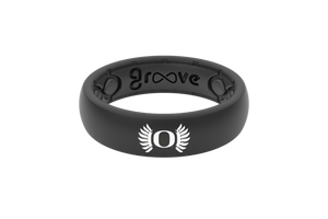 Thin College Oregon Black Wings - Groove Life Silicone Wedding Rings