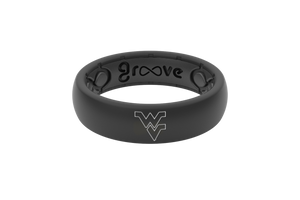 Thin College West Virginia Black/Outline - Groove Life Silicone Wedding Rings