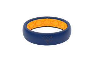 Thin College West Virginia Outline - Groove Life Silicone Wedding Rings