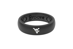 Thin College West Virginia Black/Full - Groove Life Silicone Wedding Rings
