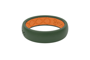 Womens Silicone Wedding Bands Groove Moss Green