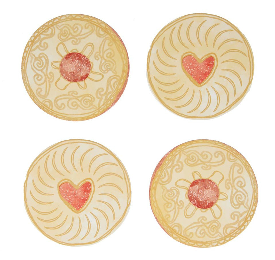 Set of 4 jam biscuit coasters