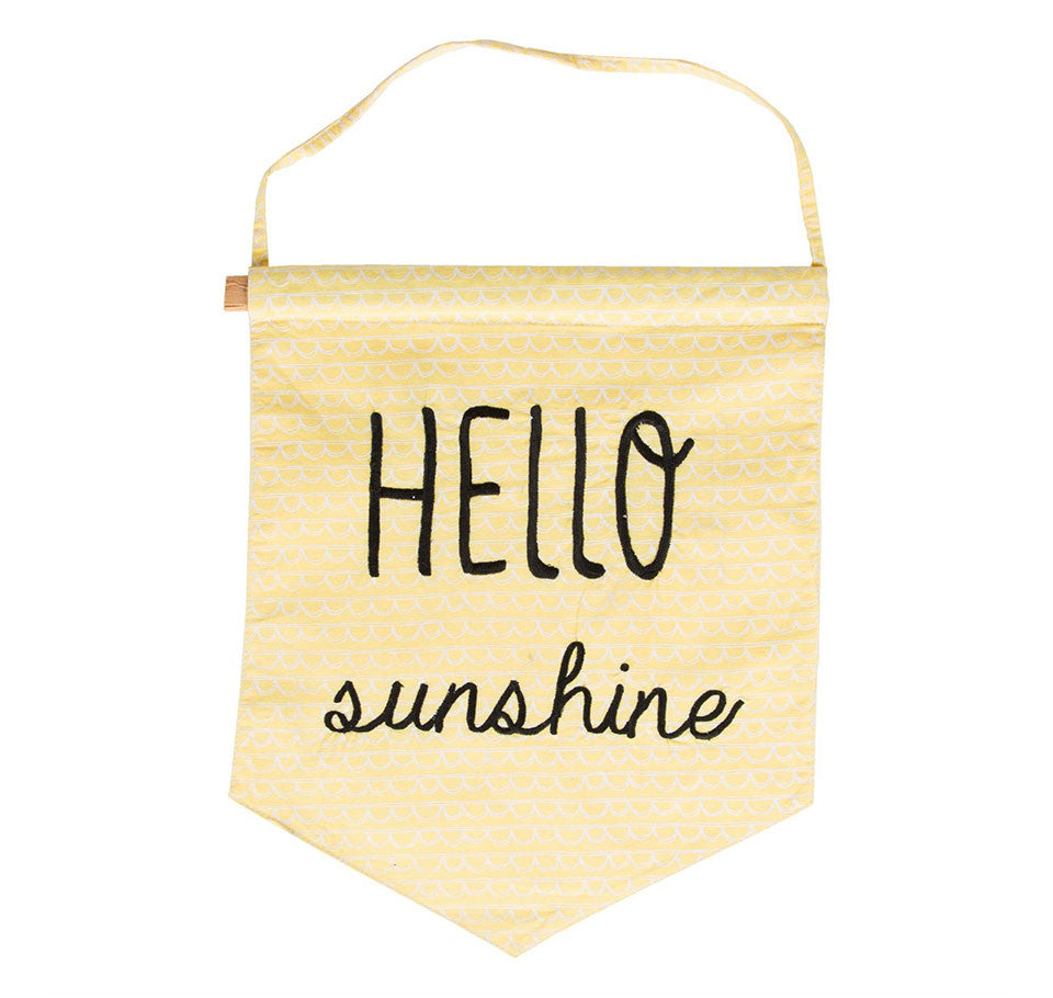 Hello sunshine pastel yellow message flag