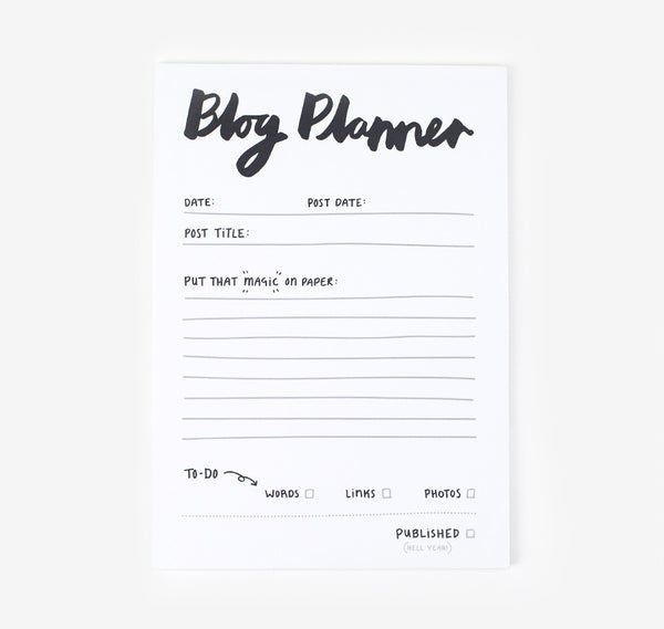 Blog planner notepad