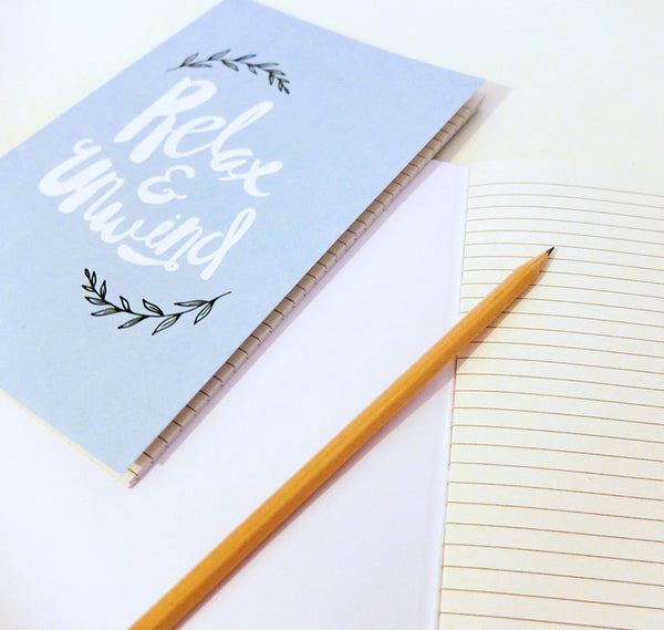 """Relax & Unwind"" lined pages notebook"